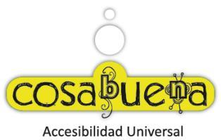 Logo de Cosabuena: la palabra Cosabuena aparece en un rectángulo verde con vértices redondeados. Sobre la figura, dos círculos blancos, uno sobre otro, de mayor a menor tamaño